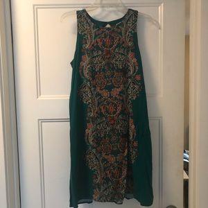 Xhilaration emerald paisley back cut out dress